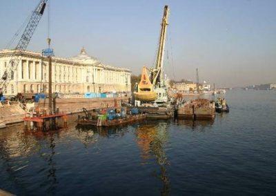 Строительство моста-дублера во время реконструкции моста Лейтенанта Шмидта